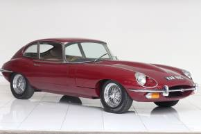 Jaguar E-Type 4.2, FHC 2+2 Coupe Petrol Regency Red at Monument Garage Brigg
